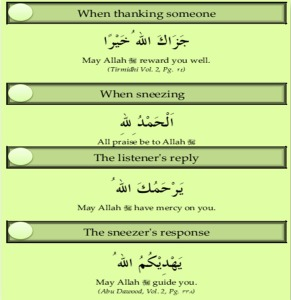 Du'a for thanking, sneezing, reply