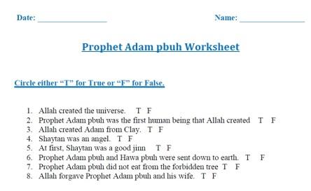 Prophet Adam (pbuh), Wksht