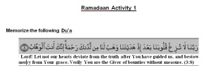 Ramadaan Activity 1, ages 12 and up