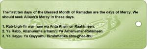 Ramadaan Bookmarks-First Ten Days Du'as