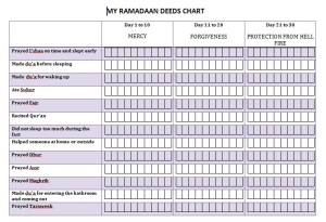 Ramadaan Deeds Chart for ages 9-10-clr