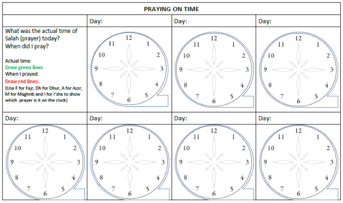 Praying on time Chart for ages 11-13