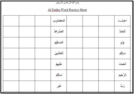 Al Fatiha Word Practice Sheet