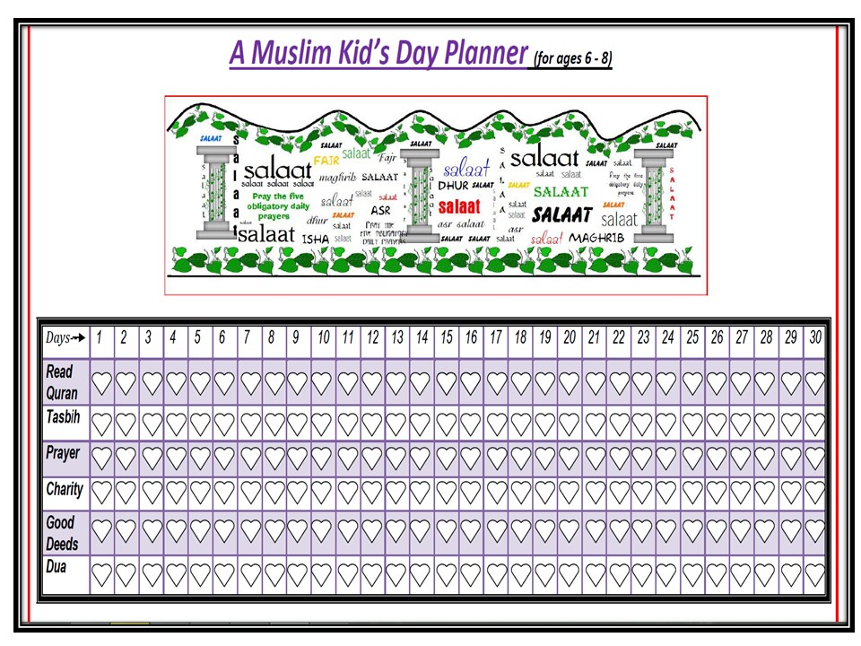 a muslim kid s day planner happy land