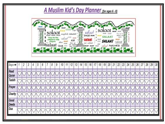 A Muslim Kid's Day Planner