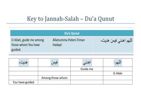 Key to Jannah-Salah w4w for ages 9-10-Qunut Du'a 13