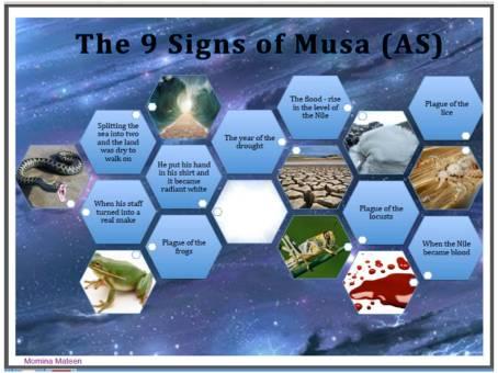Poster - 9 signs of Musa alaih salam- Al Baqarah ayah 90 - 94 - Momina